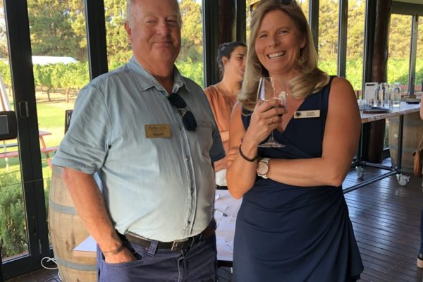 Geoff Hard (Cellar d'Or Winery Tours) and Cinde Fisher (MRBTA)